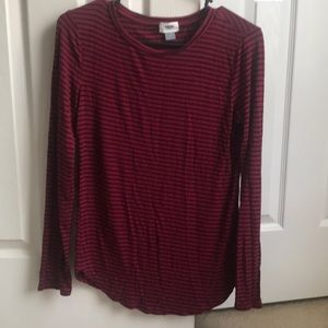 Maroon and Black Striped Shirt